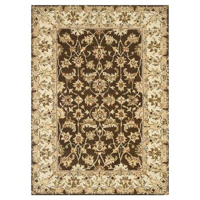 Elmwood Hand-Tufted Brown/Ivory Area Rug Rug Size: 5 x 76