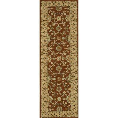 Elmwood Hand-Tufted Rust/Light Gold Area Rug Rug Size: Runner 23 x 8