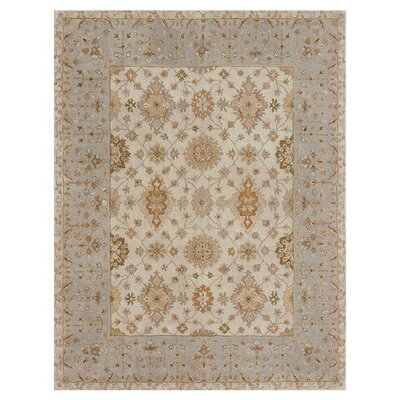 Elmwood Hand-Tufted Ivory/Blue Area Rug Rug Size: 5 x 76