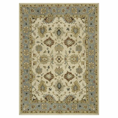 Laurent Hand-Knotted Beige/Blue Sky Area Rug Rug Size: Rectangle 86 x 116