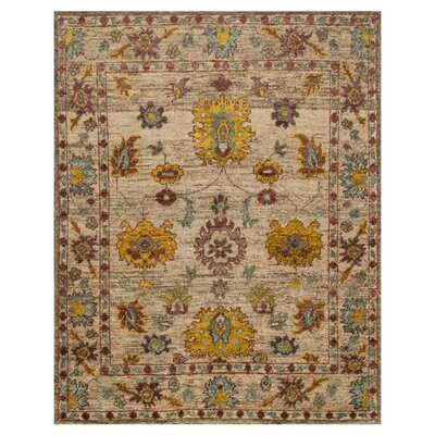 Empress Hand-Knotted Beige/Yellow Area Rug Rug Size: 86 x 116