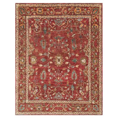 Empress Hand-Knotted Red Area Rug Rug Size: 96 x 136