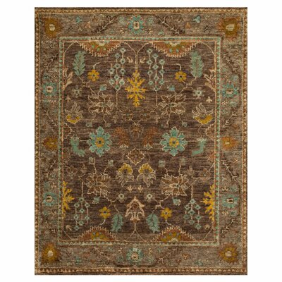 Empress Hand-Knotted Brown/Taupe Area Rug Rug Size: 56 x 86
