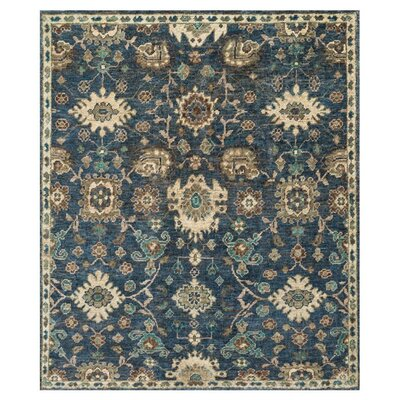 Empress Hand-Knotted Denim/Beige Area Rug Rug Size: Rectangle 2 x 3