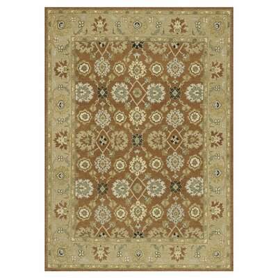 Laurent Hand-Knotted Redwood/Beige Area Rug Rug Size: 56 x 86