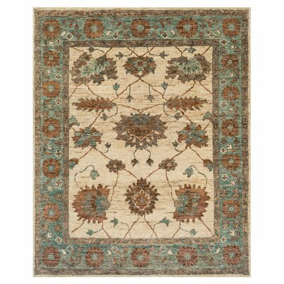 Keister Hand-Knotted Ivory/Aqua Area Rug Rug Size: Rectangle 2 x 3