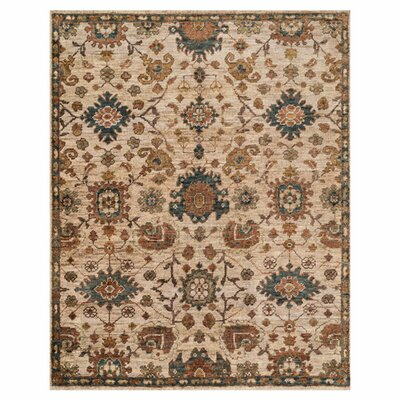 Empress Hand-Knotted Beige/Brown Area Rug Rug Size: 56 x 86