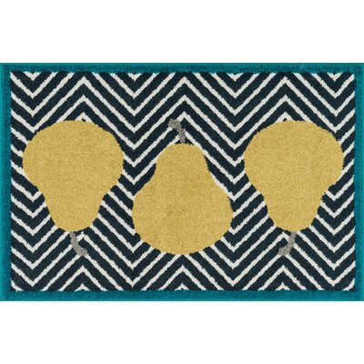 Tilley Navy/Yellow Area Rug Rug Size: Slice 25 x 39
