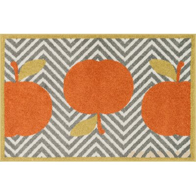 Tilley Gray/Orange Area Rug Rug Size: 25 x 39