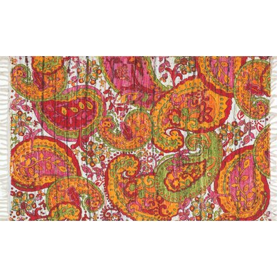 Aria Green/Orange Area Rug Rug Size: 36 x 56