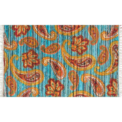 Aria Blue/Orange Area Rug Rug Size: 3'6