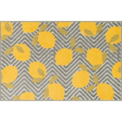 Tilley Gray/Yellow Area Rug Rug Size: 25 x 39