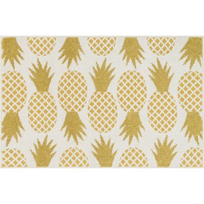 Tilley Ivory/Green Area Rug Rug Size: 25 x 39