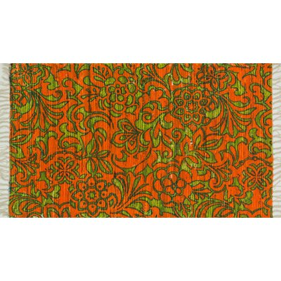 Aria Orange/Lime Area Rug Rug Size: 23 x 39