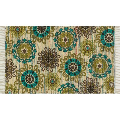 Zabel Ivory/Green Area Rug Rug Size: Rectangle 36 x 56