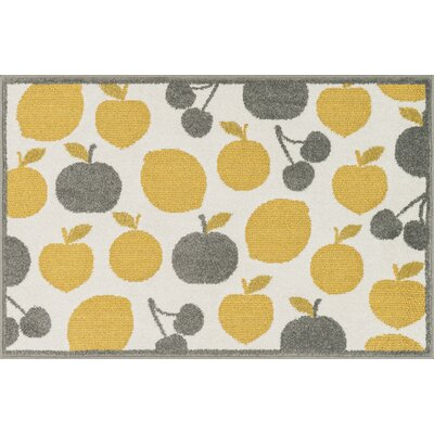 Tilley Ivory/Yellow Area Rug Rug Size: Slice 25 x 39