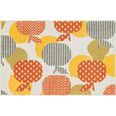 Tilley Ivory/Orange Area Rug Rug Size: 25 x 39
