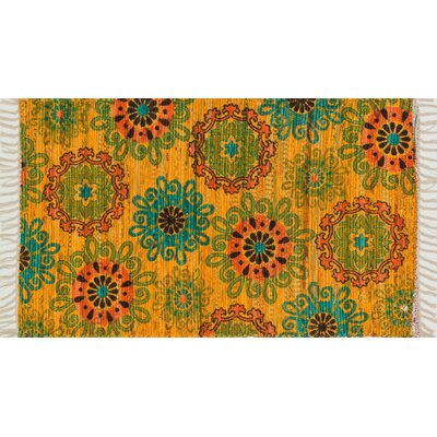 Aria Yellow/Orange Area Rug Rug Size: Round 3