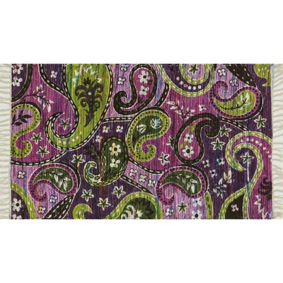 Aria Purple/Green Area Rug Rug Size: Round 3