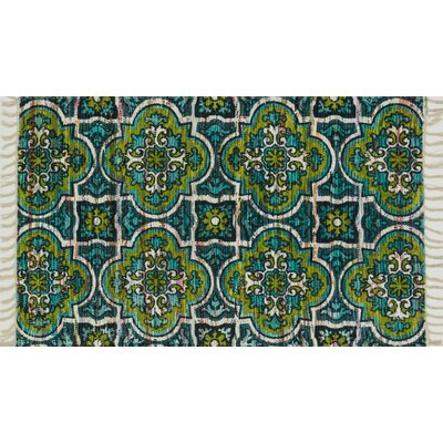 Aria Blue/Lime Area Rug Rug Size: Runner 19 x 5