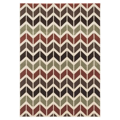 Shelton Brown/Red Area Rug Rug Size: 23 x 39