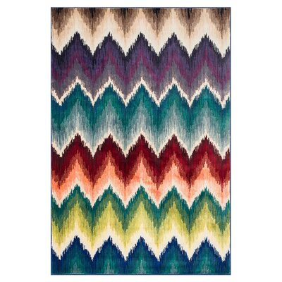 Madeline Purple/Blue/Red Area Rug Rug Size: 77 x 105