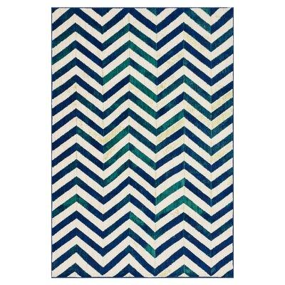 Madeline Ivory/Blue Area Rug Rug Size: 2' x 3'