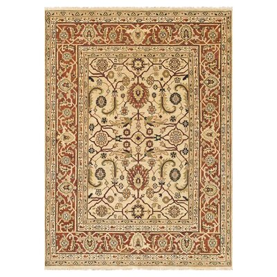 Morrow Hand Knotted Wool Ivory/Rust Area Rug Rug Size: 12 x 15