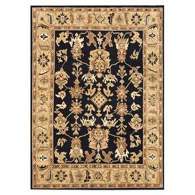 Morrow Hand-Knotted Black/Light Gold Area Rug Rug Size: 2 x 3