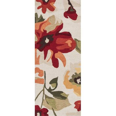 Summerton Hand-Hooked Ivory/Red/Green Area Rug Rug Size: 23 x 39