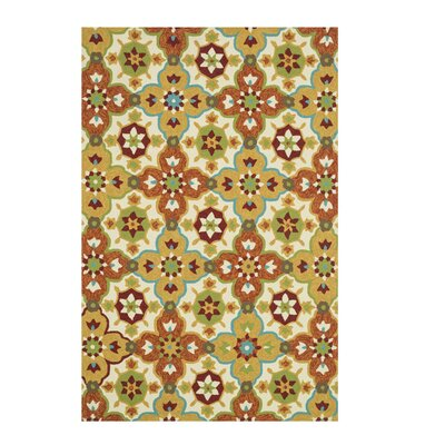 Ventura Hand-Hooked Beige/Brown Indoor/Outdoor Area Rug Rug Size: 23 x 39