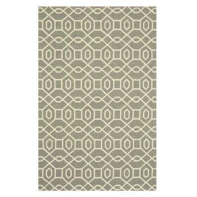 Ventura Hand-Hooked Gray/Ivory Indoor/Outdoor Area Rug Rug Size: 23 x 39