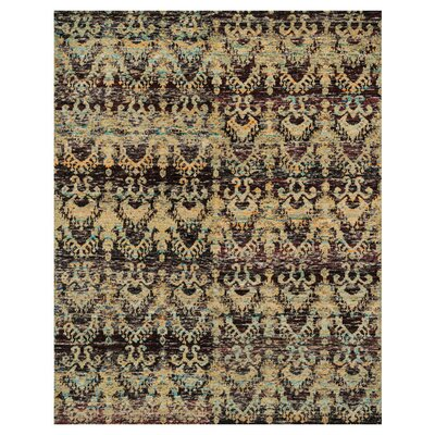 Zaleski Hand-Knotted Gold Area Rug Rug Size: Rectangle 96 x 136