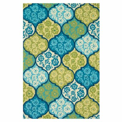 Ventura Hand-Hooked Blue/Green Indoor/Outdoor Area Rug Rug Size: 5 x 76