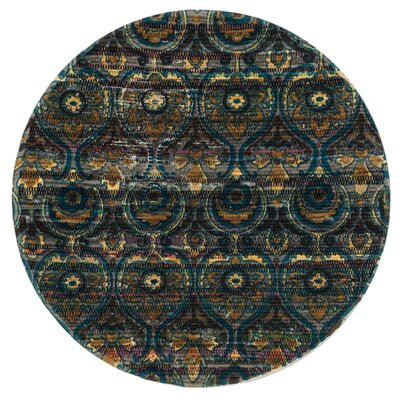 Aria Gray/Blue Area Rug Rug Size: Round 3