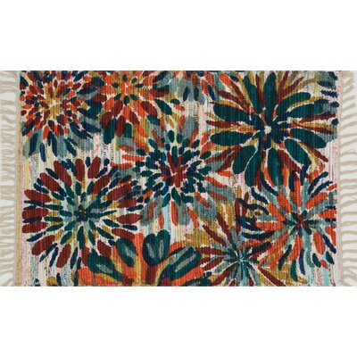 Aria Ivory/Orange/Blue Area Rug Rug Size: 23 x 39
