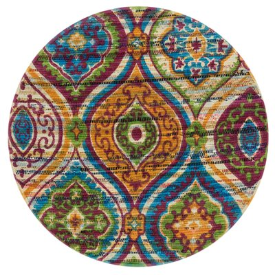 Aria Blue/Orange Area Rug Rug Size: Round 3