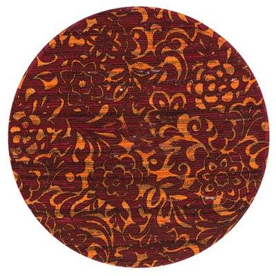Aria Red/Orange Area Rug Rug Size: Round 3