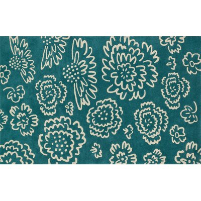 Keitt Teal/Ivory Area Rug Rug Size: Rectangle 5 x 76