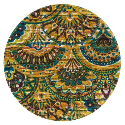 Aria Peacock/Yellow Area Rug Rug Size: Round 3