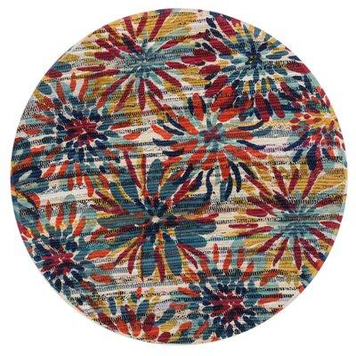 Aria Ivory/Orange/Blue Area Rug Rug Size: Round 3
