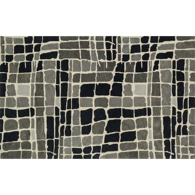 Earnhart Gray/Black Area Rug Rug Size: Rectangle 36 x 56