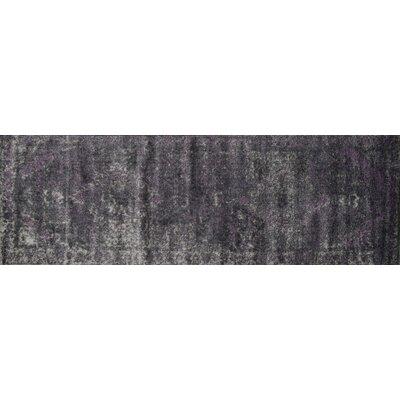 Elton Pewter/Purple Area Rug Rug Size: Runner 26 x 77
