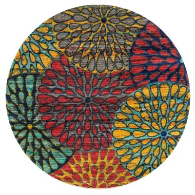 Aria Light Blue/Red/Yellow Area Rug Rug Size: Round 3
