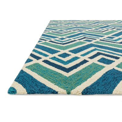 Venice Beach Hand Woven Blue Indoor/Outdoor Area Rug Rug Size: 23 x 39