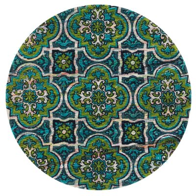 Aria Blue/Lime Area Rug Rug Size: Round 3
