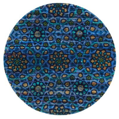 Aria Blue Area Rug Rug Size: Round 3