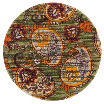 Aria Green/Orange Area Rug Rug Size: Round 3