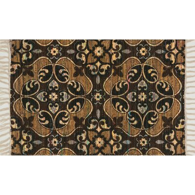 Aria Brown/Gold Area Rug Rug Size: 23 x 39