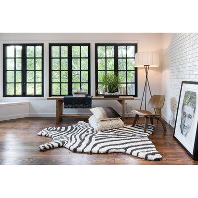 Zebra Stripe Charcoal Rug Rug Size: Novelty 5' x 7'6